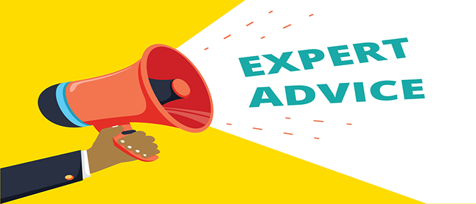 graphic image of sign that says expert advice. With an arm holding a bullhorn.